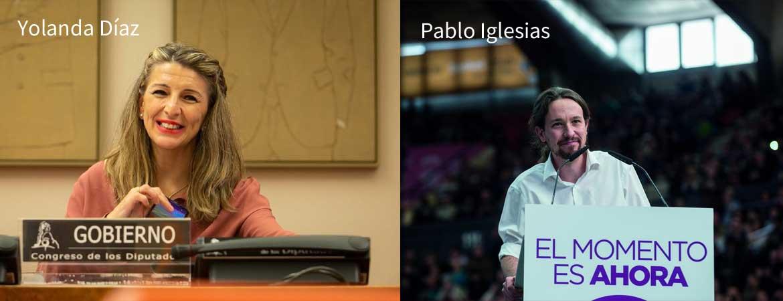 Photos of Pablo Iglesias & Yolanda Díaz